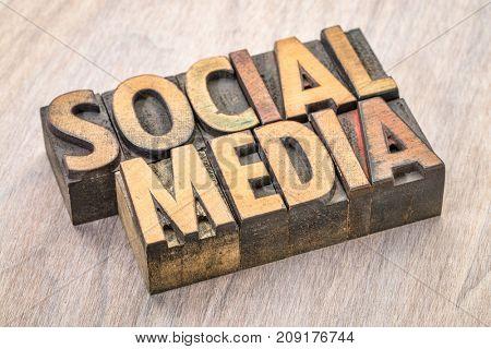 social media banner - word abstract in vintage letterpress wood type