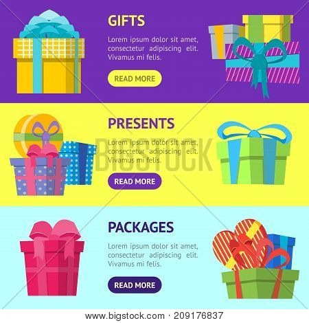 Cartoon Color Gift Boxes Banner Horizontal Set Flat Style Design Elements for Celebration or Holiday. Present Birthday Card Vector illustration