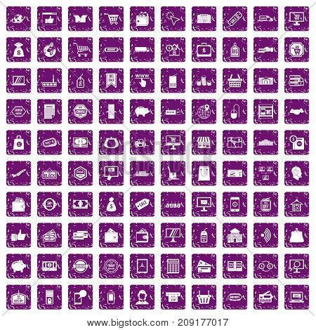 100 shopping icons set in grunge style purple color isolated on white background vector illustration