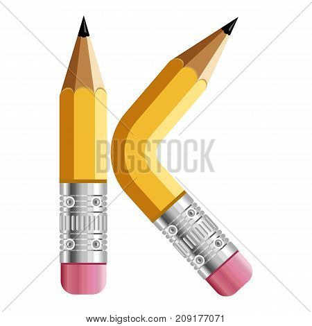 Letter k pencil icon. Cartoon illustration of letter k pencil vector icon for web