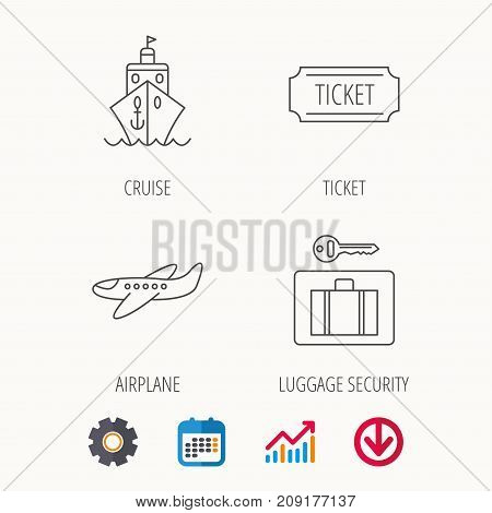 Ticket, cruise ship and airplane icons. Luggage security linear sign. Calendar, Graph chart and Cogwheel signs. Download colored web icon. Vector