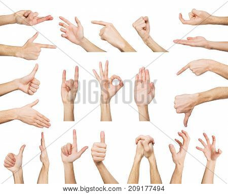 White man hands showing symbols and gestures, like, offering isolated on white background. Set of male hands.