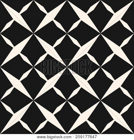 Ornamental grid seamless pattern. Abstract geometric black and white texture with stars, rhombuses, cross shapes. Simple repeat background. Design pattern, stars pattern, cross pattern, ornamental pattern, decoration pattern, prints pattern.