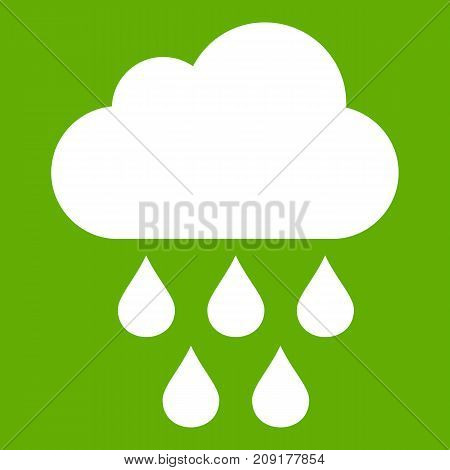 Cloud with rain drops icon white isolated on green background. Vector illustration