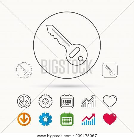 Key icon. Door unlock tool sign. Calendar, Graph chart and Cogwheel signs. Download and Heart love linear web icons. Vector