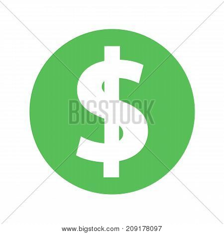 Dollar icon vector green simple isolated on white background. Money sign
