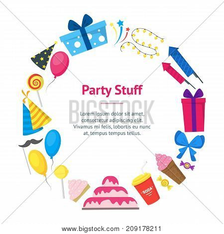 Cartoon Party Holiday Banner Card Circle Flat Style Design Elements Celebration Isolated on a White Background. Vector illustration