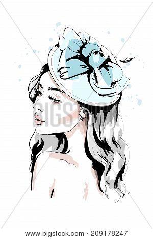 Beautiful young woman in hat. Hand drawn fashion woman portrait. Fashion model face. Sketch.