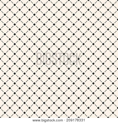 Vector minimalist seamless pattern, simple monochrome geometric texture with small circles and lines in diagonal grid. Square design, repeat tiles. Subtle abstract background. Diagonal pattern. Mesh pattern. Grid pattern. Ornamental pattern.