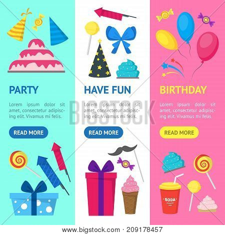 Cartoon Party Holiday Banner Vecrtical Set Flat Style Design Elements Celebration . Vector illustration