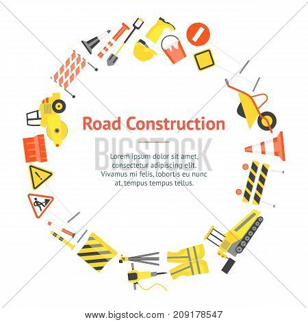 Cartoon Road Construction Banner Card Circle Flat Style Design Elements Transportation, Equipment and Street Sign. Vector illustration