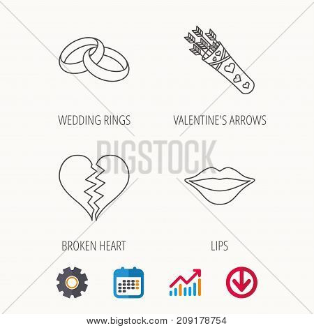 Broken heart, kiss and wedding rings icons. Valentine amour arrows linear sign. Calendar, Graph chart and Cogwheel signs. Download colored web icon. Vector