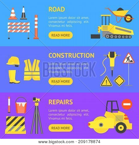 Cartoon Road Construction Banner Horizontal Set Flat Style Design Elements Transportation, Equipment and Street Sign. Vector illustration