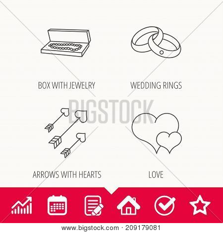 Love heart, jewelry and wedding rings icons. Arrows with hearts linear sign. Edit document, Calendar and Graph chart signs. Star, Check and House web icons. Vector