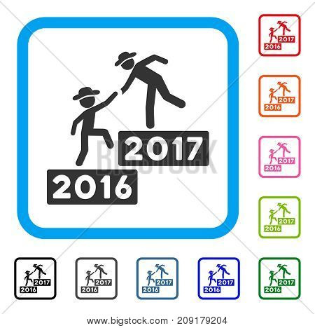 2017 Business Training Steps icon. Flat grey pictogram symbol inside a light blue rounded square. Black, gray, green, blue, red,