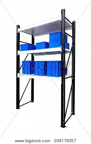 Blue plastic boxes in the cells of the automated warehouse. Metal construction warehouse shelving on white background
