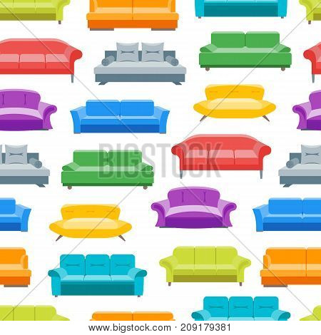 Cartoon Sofa or Divan Background Pattern on a White Flat Style Design Elements Comfortable Furniture for Home and Office Interior. Vector illustration