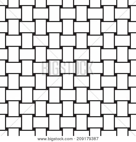 Seamless abstract vector weave pattern background in black and white