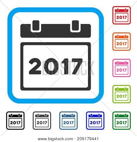 2017 Calendar Page icon. Flat grey iconic symbol inside a light blue rounded frame. Black, gray, green, blue, red, orange color variants of 2017 Calendar Page vector.