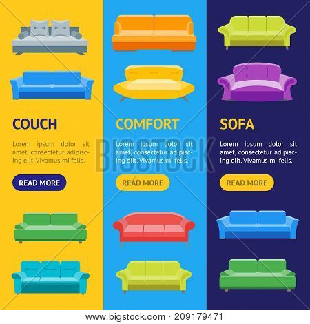 Cartoon Sofa or Divan Banner Vecrtical Set Flat Style Design Elements Comfortable Furniture for Home and Office Interior. Vector illustration