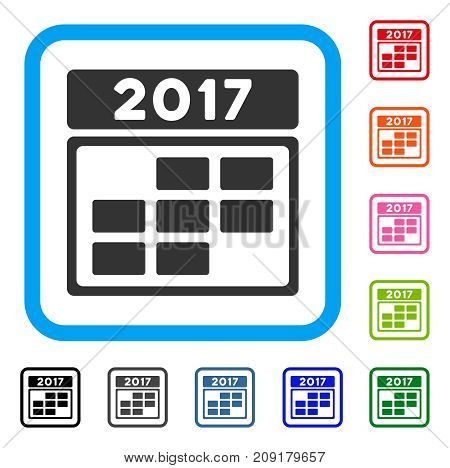 2017 Calendar Week Grid icon. Flat grey iconic symbol in a light blue rounded squared frame. Black, gray, green, blue, red, orange color versions of 2017 Calendar Week Grid vector.
