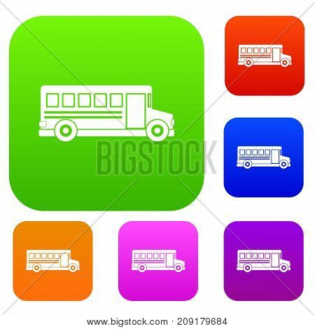 School bus set icon color in flat style isolated on white. Collection sings vector illustration