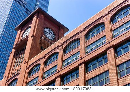 Red brick building in downtown Chicago, USA.