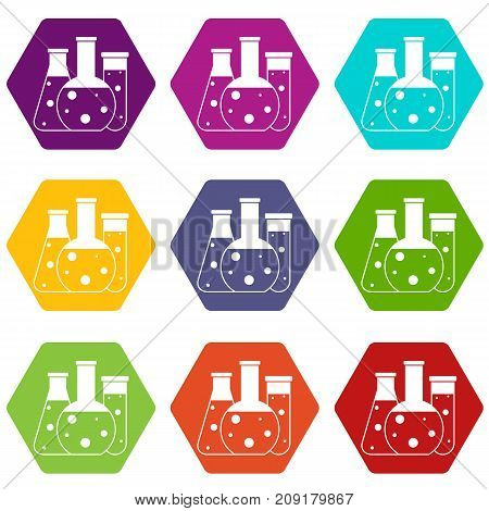 Laboratory flasks icon set many color hexahedron isolated on white vector illustration