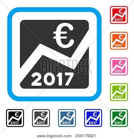 2017 Euro Chart icon. Flat gray pictogram symbol in a light blue rounded frame. Black, gray, green, blue, red, orange color additional versions of 2017 Euro Chart vector.