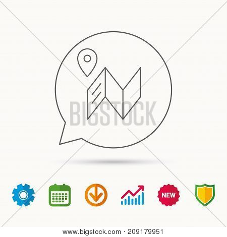 Map icon. GPS navigation with pin sign. Calendar, Graph chart and Cogwheel signs. Download and Shield web icons. Vector