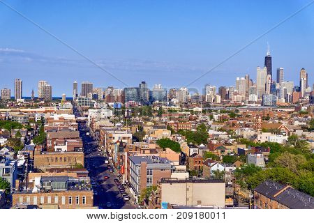 CHICAGO - MAY 14: View of Bucktown neighborhood with downtown Chicago in the background on May 14 2017