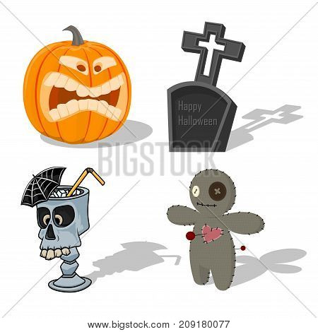 Vector scary Halloween signs pumpkin, Voodoo doll, scary cocktail, tombstone. Cartoon horror holiday elements. Spooky fear trick or treat illustration set