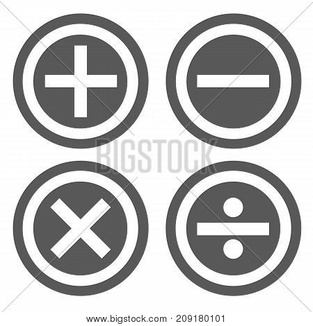 Calculator icon set vector simple isolated on white background