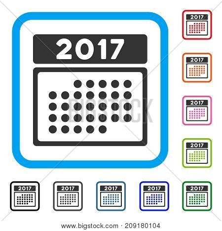 2017 Month Calendar icon. Flat gray pictogram symbol in a light blue rounded square. Black, gray, green, blue, red, orange color additional versions of 2017 Month Calendar vector.
