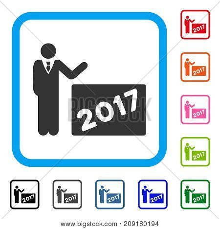2017 Showing Man icon. Flat gray iconic symbol in a light blue rounded squared frame. Black, gray, green, blue, red, orange color versions of 2017 Showing Man vector.