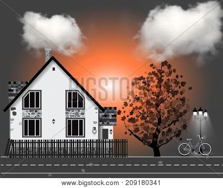 Vector illustration with house bycicle. autumn tree clouds