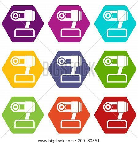 Webcam icon set many color hexahedron isolated on white vector illustration