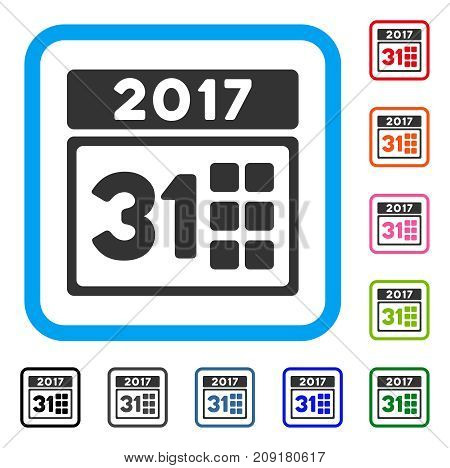 2017 Year Last Month Day icon. Flat gray iconic symbol inside a light blue rounded rectangular frame. Black, gray, green, blue, red, orange color versions of 2017 Year Last Month Day vector.