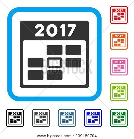 2017 Year Selected Calendar Day icon. Flat grey pictogram symbol inside a light blue rounded frame. Black, gray, green, blue, red, orange color versions of 2017 Year Selected Calendar Day vector.