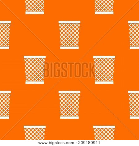 Wastepaper basket pattern repeat seamless in orange color for any design. Vector geometric illustration