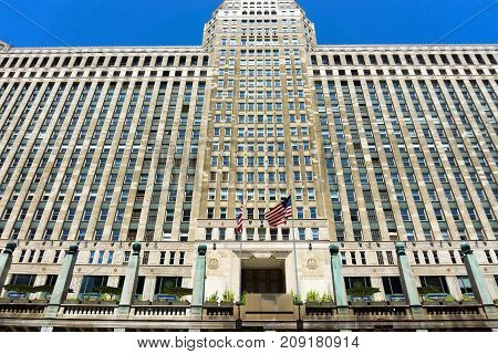 CHICAGO - MAY 12: Entrance to the Merchandise Mart building in downtown Chicago on May 12 2017