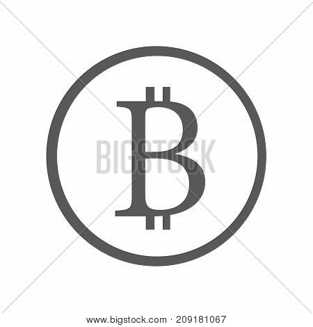 Bitcoin sign icon vector simple isolated on white background. Crypto currency symbol and coin image for using in web projects or mobile applications. Blockchain based secure cryptocurrency