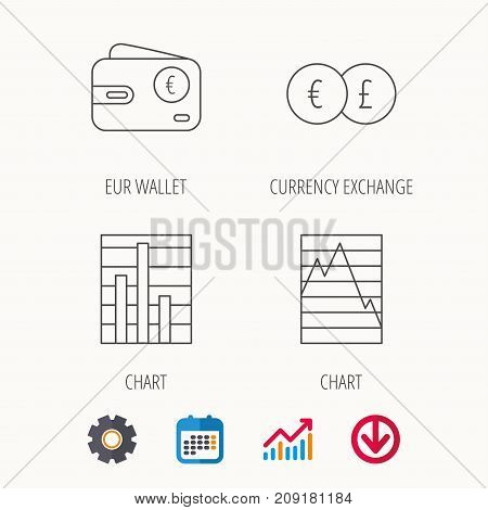 Currency exchange, chart and euro wallet icons. Statistics graph linear signs. Calendar, Graph chart and Cogwheel signs. Download colored web icon. Vector