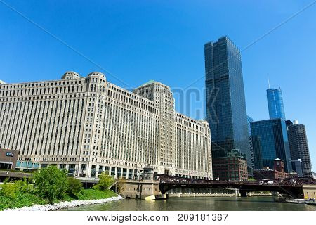 CHICAGO - MAY 12: Merchandise Mart and skyscrapers in downtown Chicago on May 12 2017