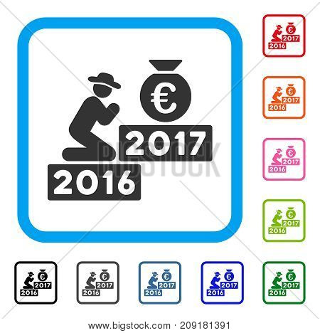 Pray For Euro 2017 icon. Flat grey iconic symbol inside a light blue rounded rectangle. Black, gray, green, blue, red, orange color versions of Pray For Euro 2017 vector.