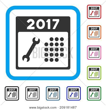Repair 2017 Calendar icon. Flat grey pictogram symbol in a light blue rounded frame. Black, gray, green, blue, red, orange color additional versions of Repair 2017 Calendar vector.