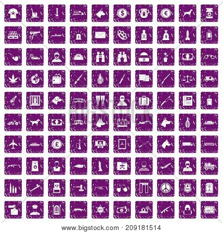 100 smuggling  icons set in grunge style purple color isolated on white background vector illustration