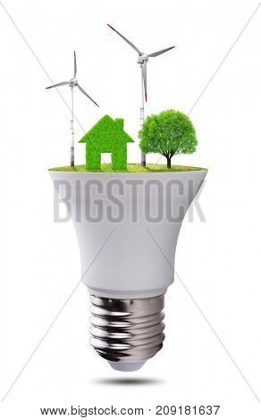 Eco LED light bulb isolated on white background. Concept of green energy.
