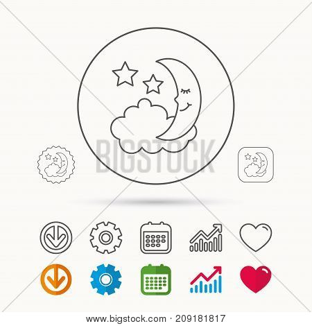 Night or sleep icon. Moon and stars sign. Crescent astronomy symbol. Calendar, Graph chart and Cogwheel signs. Download and Heart love linear web icons. Vector