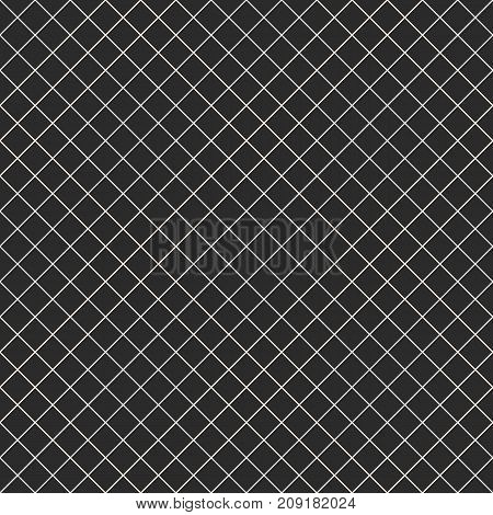 Square grid vector seamless pattern. Simple abstract geometric black and white texture with thin diagonal cross, lines, rhombuses, mesh, lattice, grill. Subtle dark checkered background, repeat tiles. Grid pattern. Mesh pattern. Diagonal pattern.